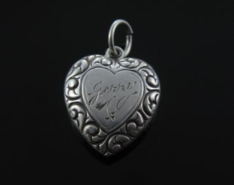 Vintage Puffy Heart Sterling Silver Charm