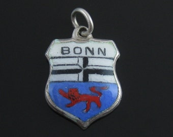 Vintage Sterling Silver Bonn Travel Shield Coat of Arms Enamel Charm