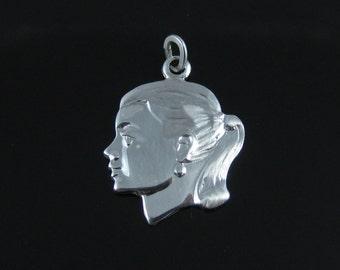 Vintage Sterling Silver Teenage Girl Charm Pendant