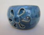 Yarn Bowl Freckled Blueberry Blue Knitting Crocheting Pottery Bowl