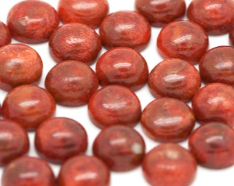 6mm - TWO Natural Red Round Sponge Coral Cabochons - 6mm