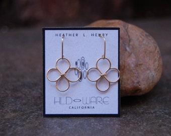 Gold Filled Wire Flower Earrings