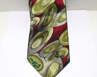 Silk NeckTie Designer Christian Garets Mens Tie Vintage Wide Silk Tie MOD Red Gold Gray Green Signature NOS New Old Stock Wild Tie