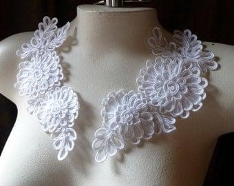 Lace Applique Pair in White Soutache for Bridal, Headbands, Sashes PR 137nb