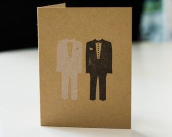 Groom Tuxedos - Letterpress Gay Wedding Card