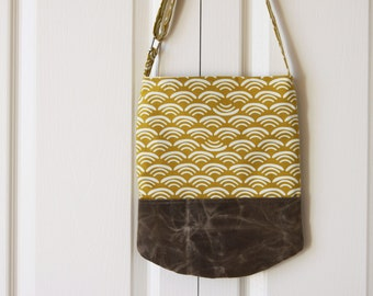 Sling Bag in Mustard Waves Organic Cotton and Waxed Canvas.