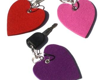 Felt Heart Keychain, Key chain, Key Fob, Key Holder, Key Ring, Keyring Virgin Merino Felted Wool, 5mm thick Mother's Day Gift for Mom