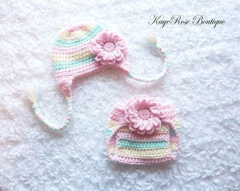 Newborn Baby Girl Crochet Flower Ear Flap Hat and Diaper Cover Set Pink Cream and Mint Green Stripes