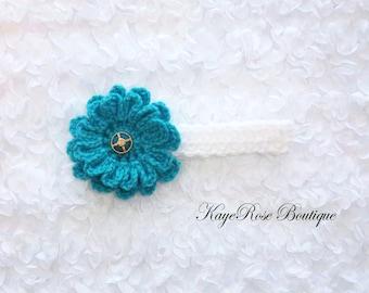 Newborn Baby Girl Crochet Flower Headband Turquoise and White