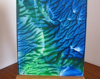 ACEO Blue Green III Abstract Encaustic (Wax) Original Painting. SFA (Small Format Art) Collectible Art
