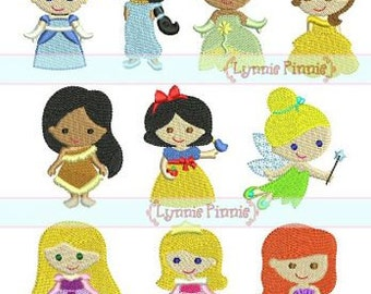 MINI PRINCESS Design Set 10 Filled Minis in 3 sizes 4x4 Machine Embroidery Design INSTANT Download