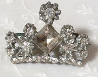 Antique Rhinestone Crown Brooch - Heraldic Crown Pot Metal Silver Tone Pin