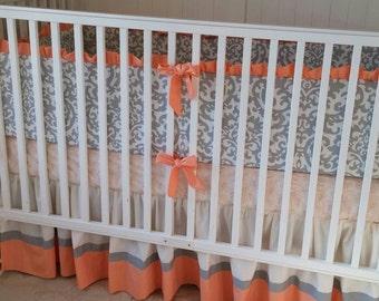 Peach Cream and Gray Damask Crib Bedding Set