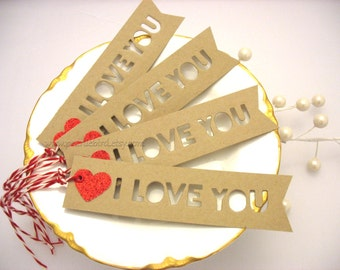 Valentine I Love You Gift Tags-kraft brown-red-heart-love-cupid-Valentines Day-Anniversary-Wedding