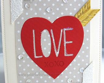 XOXO Love Blank Tag Card-cream-grey-red-white-heart-arrow-pretty packaging-Anniversary-Wedding
