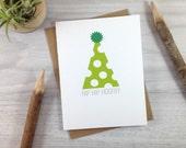 Green Polka Dot Birthday Hat Card