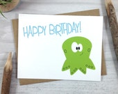 Birthday Card, Happy Birthday Greeting Card, Children's Card, Sea Creature Card, Octopus Card - Single