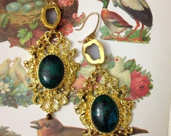 The queen. Insanely fancy dangle earrings or earweights w geode and tigers eye SALE