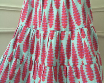 Red and Aqua tiered twirly skirt - peasant skirt - handmade to order - spring summer fashion - custom size 2T 3T 4T 5 6 7 8