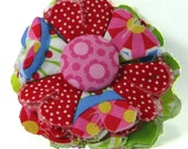 Fabric Flower Pin, Fabric Flower Brooch, raw edge flower, pink, red and blue - FP03