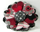 Fabric Flower Pin, Fabric Flower Brooch, raw edge flower, black, gray, merlot - FP05