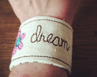 Wrist cuff, Word of the Year Wrist Cuff, Inspiration Wrist Cuff, Word Cuff, Personalized cuff, Name cuff, flower wrist cuff