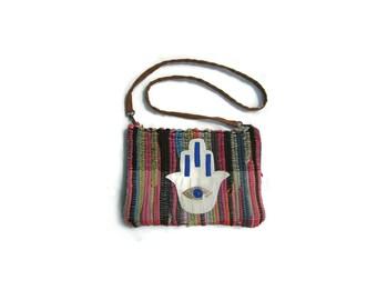 Hamsa Boho Kilim Bag. Small Messenger Bag. Crossbody Purse. Womens Gift. Colorful Shoulder Bag. Hippie Bag. Gypsy Bag. Gift for Her