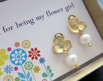 Gift for flower girl, floral pearl earrings, flower post earrings, thank you card, junior bridesmaid jewelry, weddings