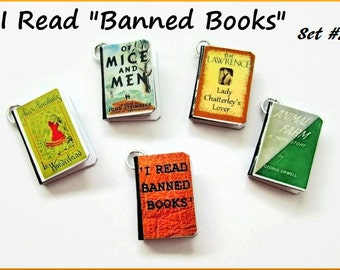 Miniature Book Charms I Read Banned  Books Inspired Theme  Set of all Five (Set #2)