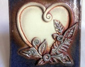 handmade Ceramic Tile, Heart motif, wall decoration, leaves, OOAK