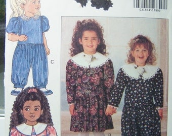 Butterick 5816 Girl's Sewing Pattern, SALE Toddler Girl's Party Dress and Jumpsuit, Vintage 90's Party Dress, Easy to Sew Pattern Size 2 - 4