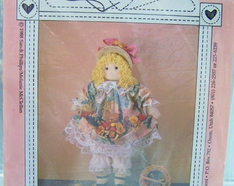 "Hearts Content Doll Sewing Pattern, SALE 23"" Doll, Soft Doll Toy, Doll Dress, Petticoat, Pantaloons, Doll Pattern, Craft Destash"