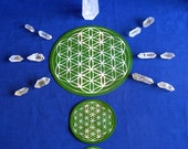 Flower of Life Green Chakra Altar Cloth, Crystal Grid