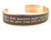 Existentialism German Quote Jewelry - Friedrich Nietzsche Beyond Good and Evil - Skinny Brass Cuff Bracelet
