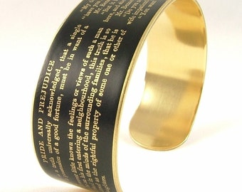 Jane Austen Jewelry For Wife - Pride and Prejudice Literary Brass Bracelet Cuff in Black - Unique Gifts Under 35