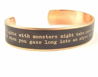 Existentialism German Quote Jewelry - Friedrich Nietzsche Beyond Good and Evil - Skinny Brass Cuff Bracelet