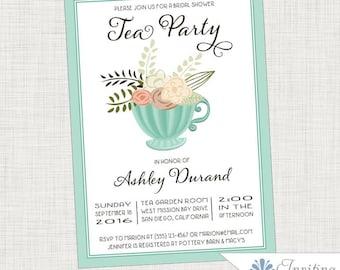 Mint Tea Cup Tea Party,  Bridal Shower Invitation, Baby Shower Invitation