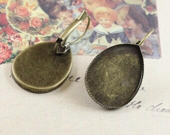 Earring Base 10pcs Antique Bronze Earwires Hook with 18x25MM Teardrop Base Setting L05929