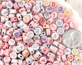 Letter Beads - 7mm Candy Color Pastel Round Alphabet Acrylic or Resin Beads - 400 pc set