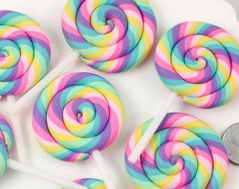 Fake Lollipops - 80mm Huge Pastel Rainbow Swirl Lollipop Flatback Clay or Resin Cabochons - 2 pc set