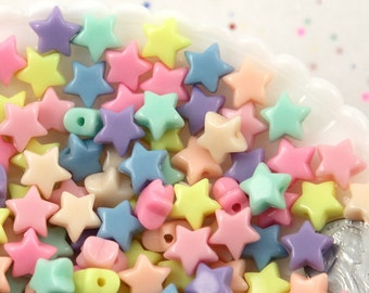 Star Beads - 12mm Small Beautiful Bright 3D Rounded Puffy Pastel Star Acrylic or Resin Beads - 200 pcs set