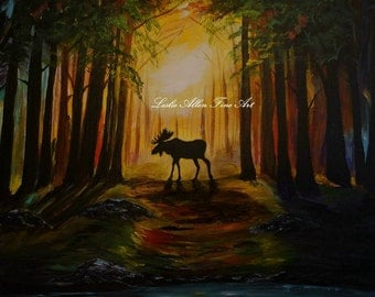 "Moose Art Print Bull Moose Decor Wall Art Wildlife Forest Mountains Country "" Moose Hideout"" Original Wildlife PrintsBull"