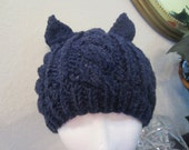 Soft Playful Beautiful Navy Heather Knit Cat Hat