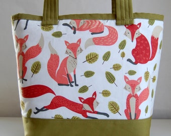 Fox Artwork Fabric Tote Bag - READY TO SHIP
