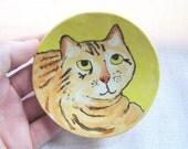 Tabby Cat Dish - Yellow Spoon Rest - Tea Bag Holder - Painted Kitty - Handmade Pottery