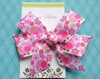 Pink Birds Classic Diva Bow