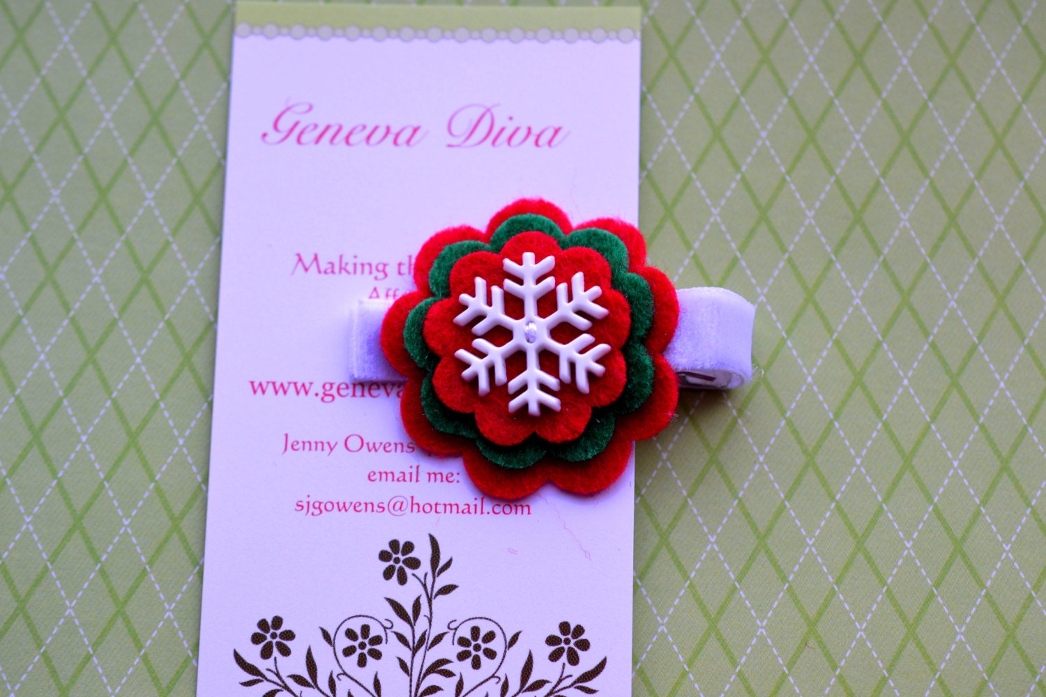 White Snowflake on Red and Green Stacked Felt Flower Clip