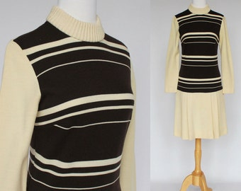 60's  Mod Scooter Dress / Wool Jersey Drop Waist Dress / Pleated Skirt / Brown Stripe / XSmall to Small