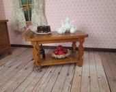 "Antique Doll House Furniture - Faux Painted Tea Cart - 1"" Scale - Made in Germany"