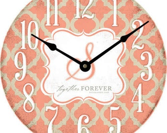 Trendy Quatrefoil 18 inch Clock Personalized with a Monogram and Established year. Makes a thoughtful wedding gift. Our most popular size.